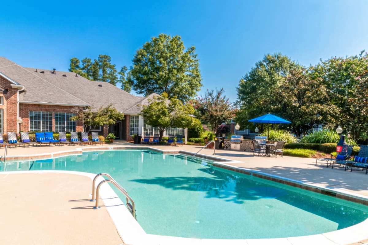 Deep end of pool in front of clubhouse at Marquis of Carmel Valley in Charlotte, North Carolina