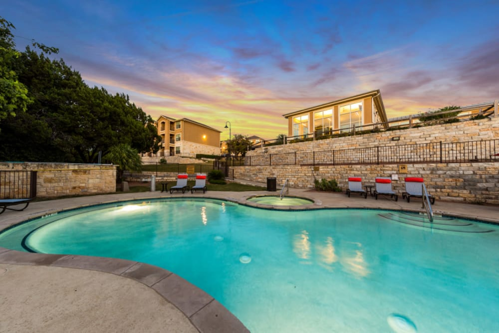 Resort-style, sparkling swimming pool at Marquis at Canyon Ridge in Austin, Texas