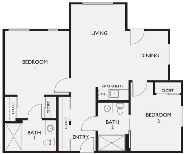 Assisted Living Two Bedroom at The Commons at Elk Grove in Elk Grove, California