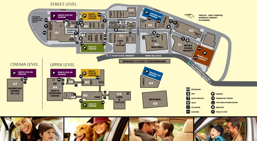 Site map for Ridge Hill Mall near Monarch at Ridge Hill in Yonkers, New York