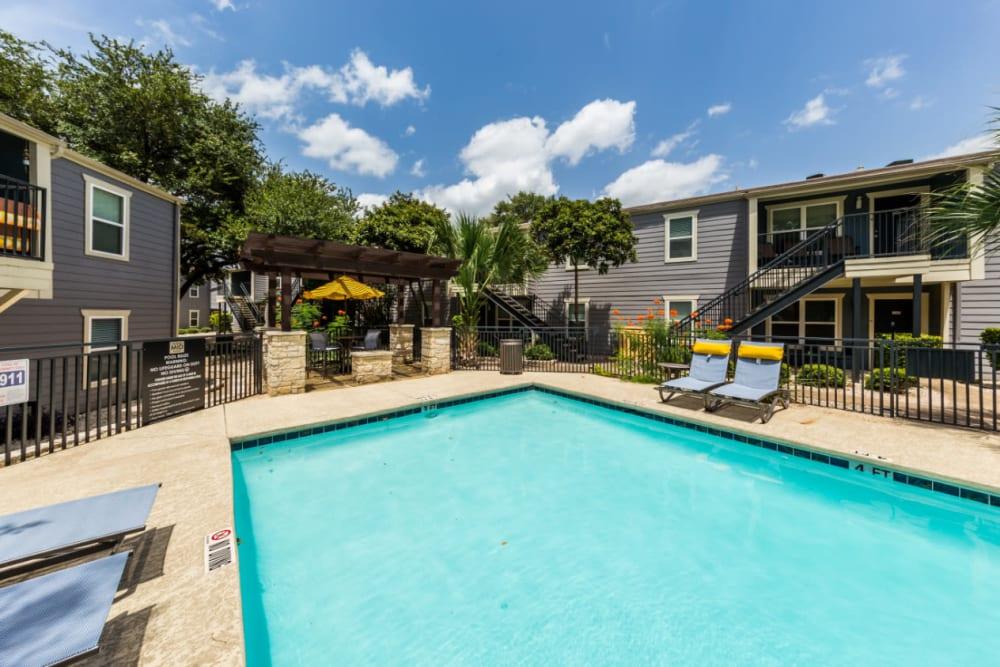 Shallow pool with gazebo at end at Austin Midtown in Austin, Texas