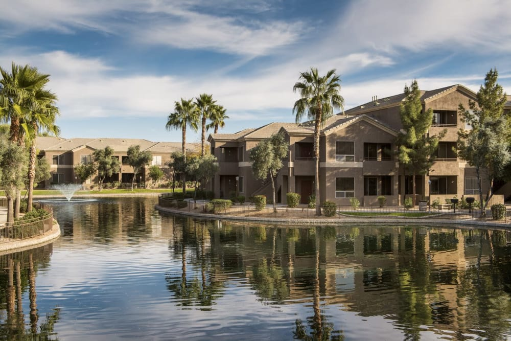 Large pond by apartments at Laguna at Arrowhead Ranch in Glendale, Arizona