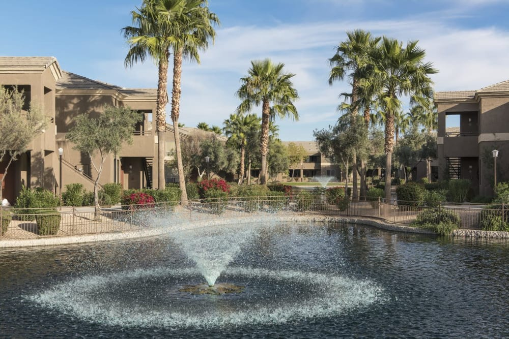 Fountain in lake at Laguna at Arrowhead Ranch in Glendale, Arizona