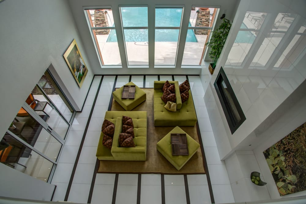 Bird's eye view of entryway at Sage Luxury Apartment Homes in Phoenix, Arizona