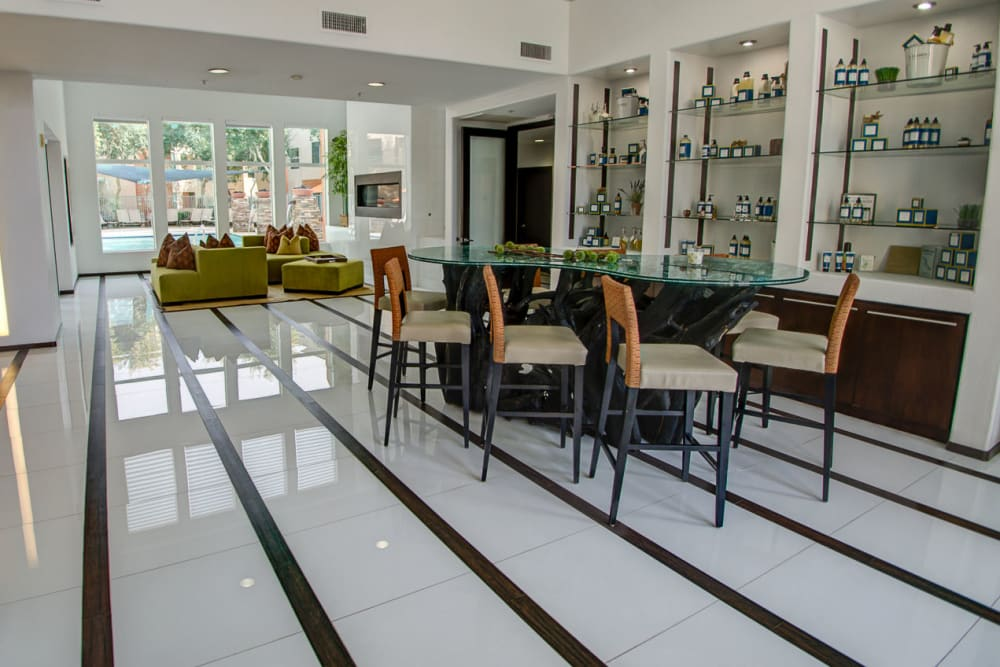 Bar-style seating in the clubhouse at Sage Luxury Apartment Homes in Phoenix, Arizona
