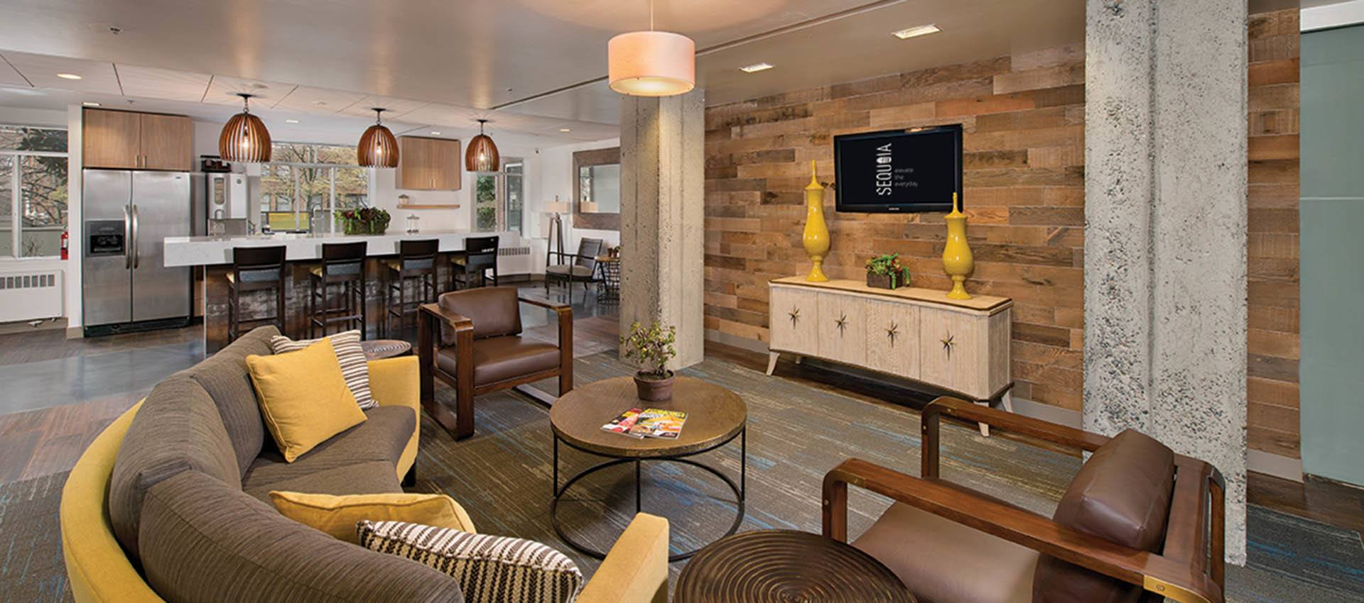 Lobby with Flat screen TV on the wall at The Mill at First Hill in Seattle , Washington