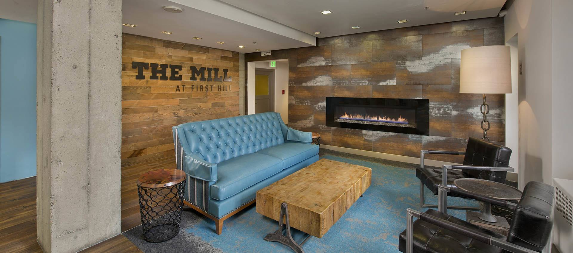 lobby with seating at The Mill at First Hill in Seattle , Washington
