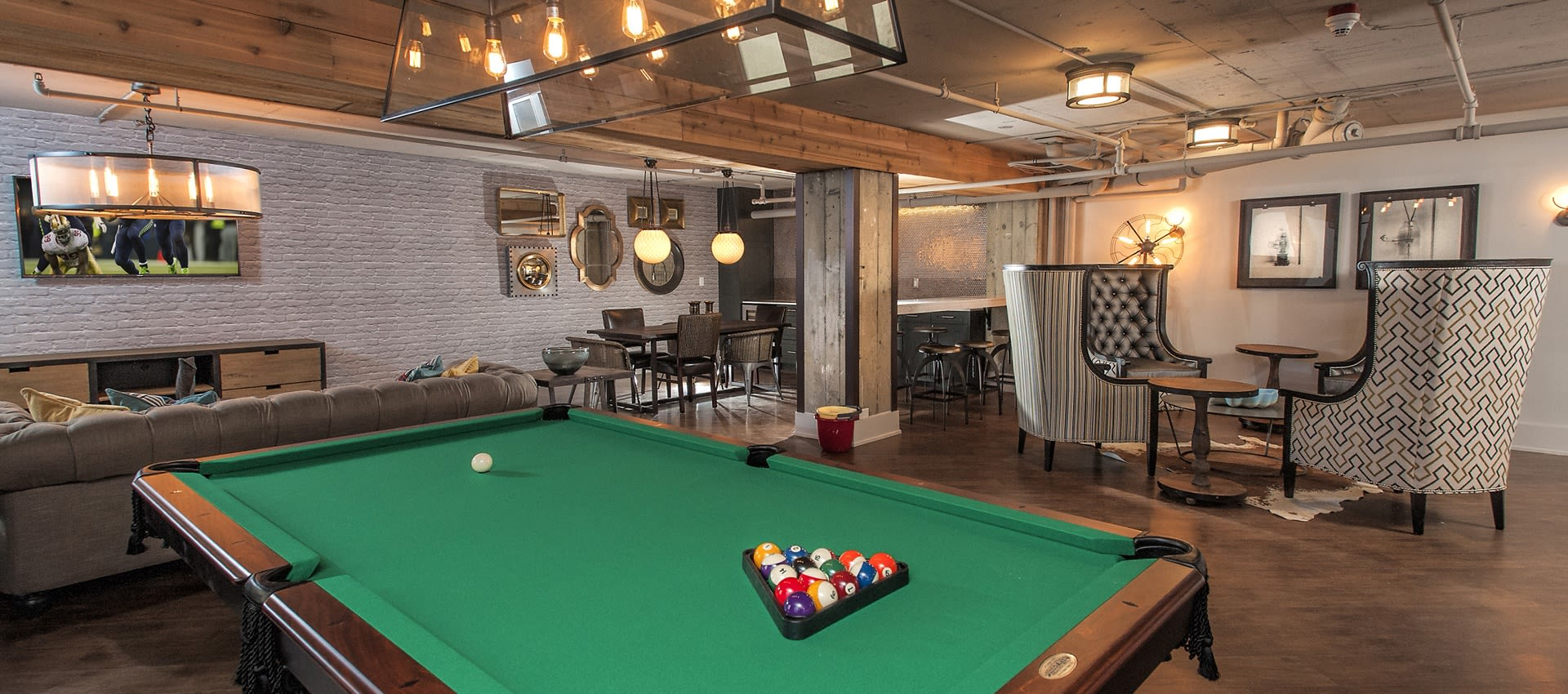 Billiards room at lThe Mill at First Hill's club room in Seattle, Washington