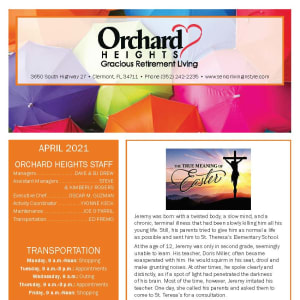 April newsletter at Orchard Heights Gracious Retirement Living in Clermont, Florida