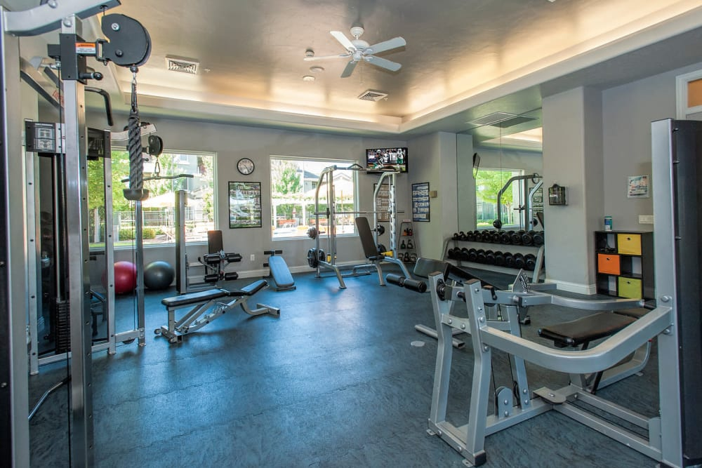 Fitness center  with plenty of individual workout stations at The Artisan Apartment Homes in Sacramento, California
