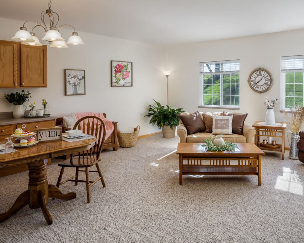 Spacious floor plans with a full living room and kitchen at Glenwood Place in Marshalltown, Iowa.