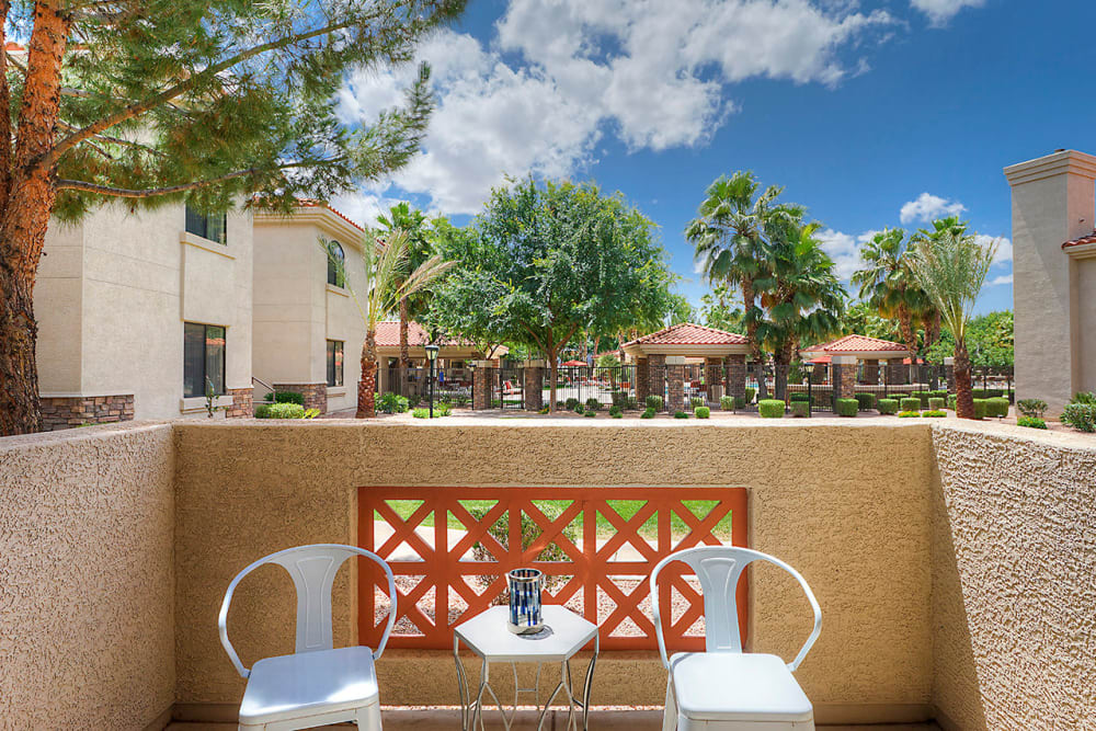 Private balcony with seating at San Palacio in Chandler, Arizona