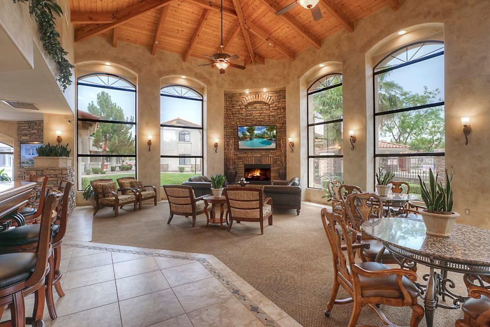 Contemporary decor in resident clubhouse at San Palacio in Chandler, Arizona