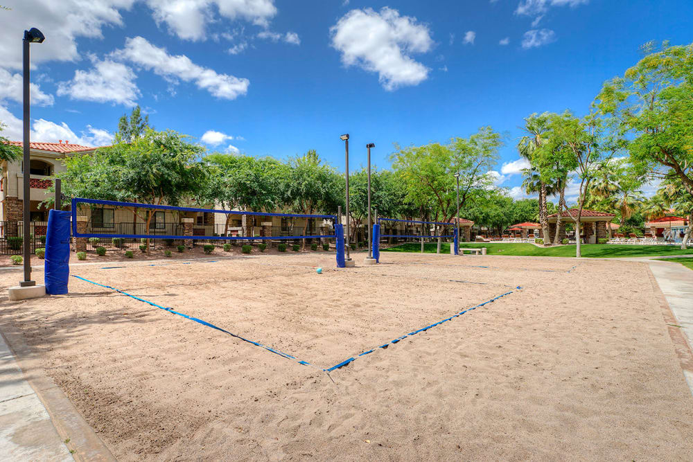Onsite volleyball court at San Palacio in Chandler, Arizona