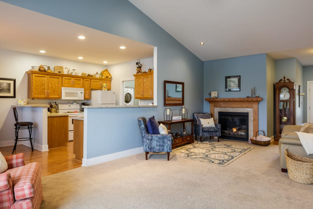 Open floor plans with a fireplace at Glenwood Place in Marshalltown, Iowa.