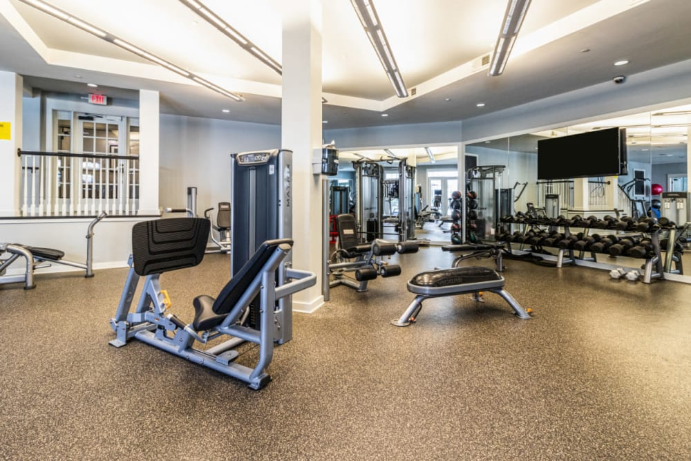Assisted weight machines in large fitness room at Marquis at Buckhead in Atlanta, Georgia