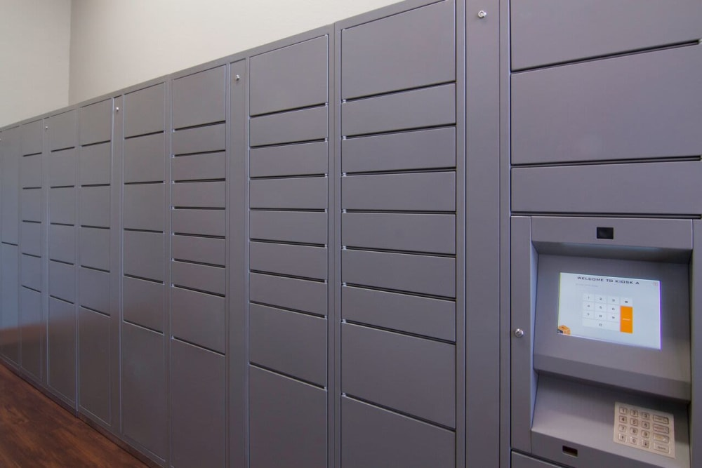 lockers at Irving Schoolhouse Apartments