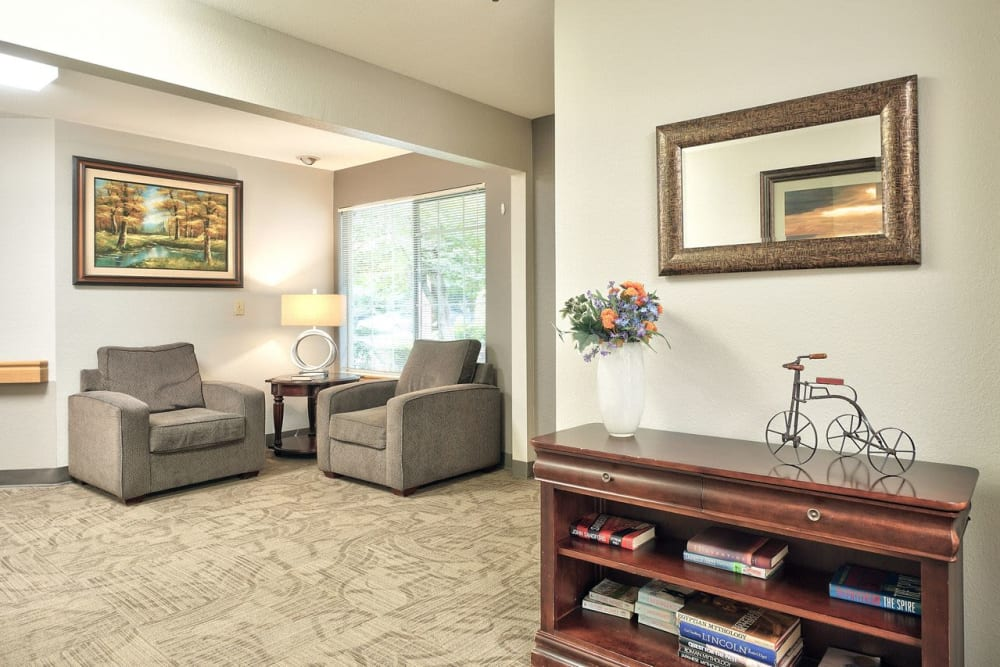 Living room at Regency Woodland in Salem, OR anytime!