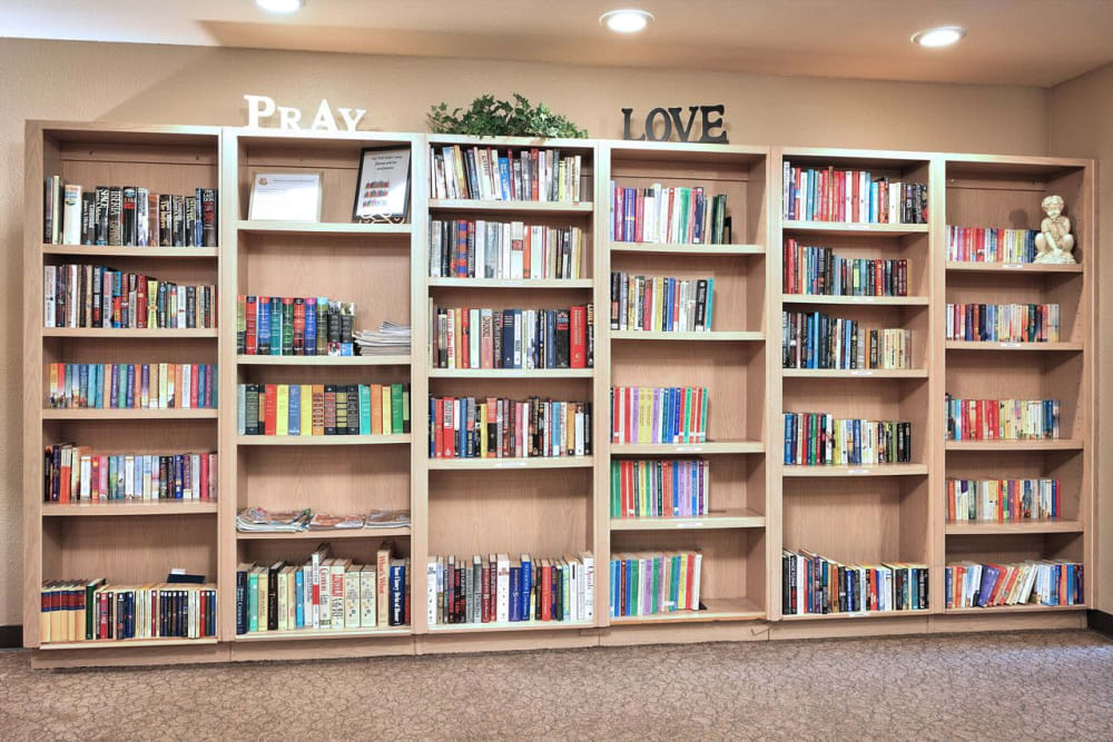 Book wall at Regency Park Place at Corvallis in Corvallis, OR.