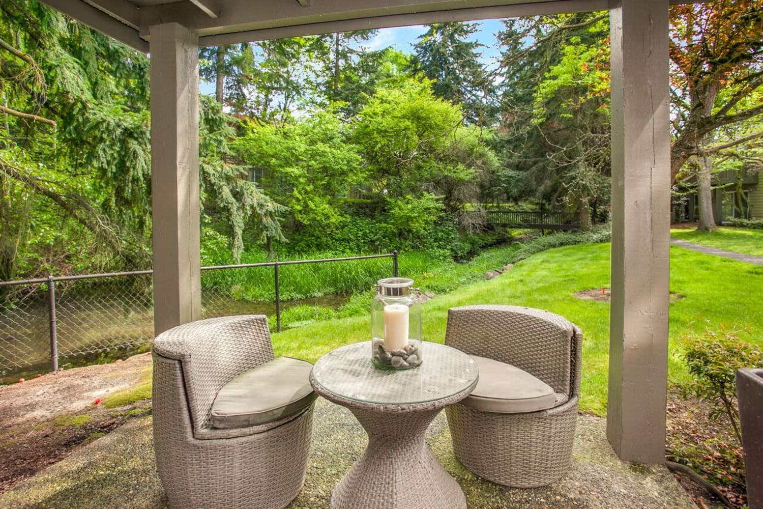 Private patio at The VUE in Kirkland, Washington