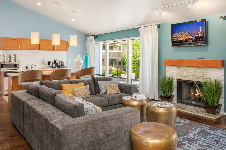 Bright living room at The VUE in Kirkland, Washington