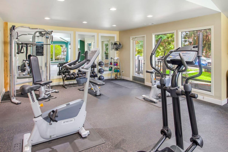 Fitness center at The VUE in Kirkland, Washington
