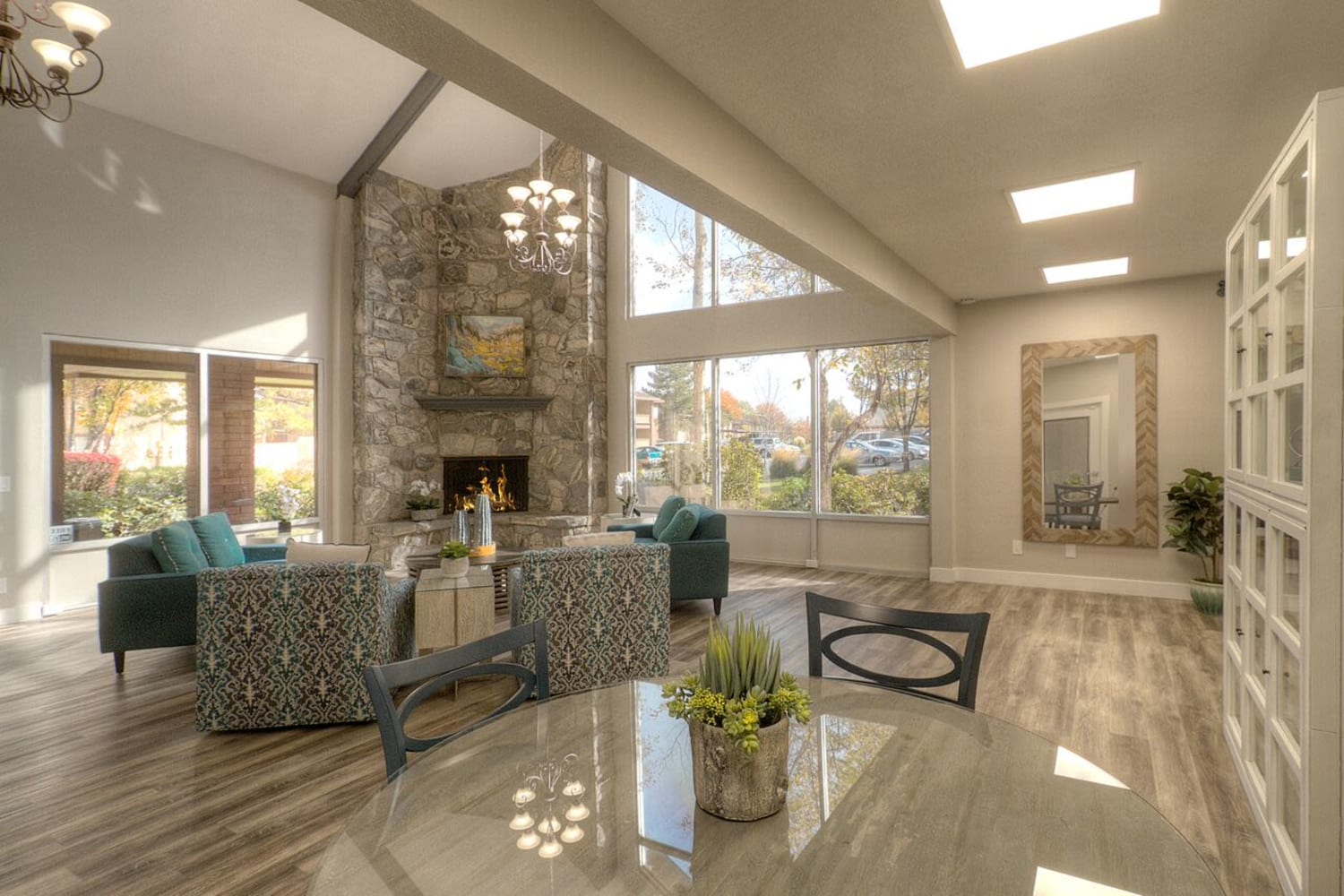Sunlit clubhouse at Wasatch Club Apartments in Midvale, Utah