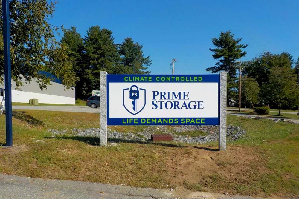 Sign at Prime Storage in Dracut, Massachusetts