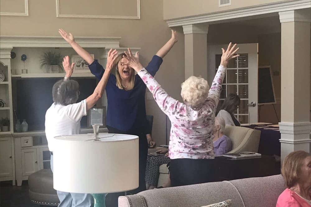 Residents doing stretches at Brooklyn Pointe in Brooklyn, Ohio