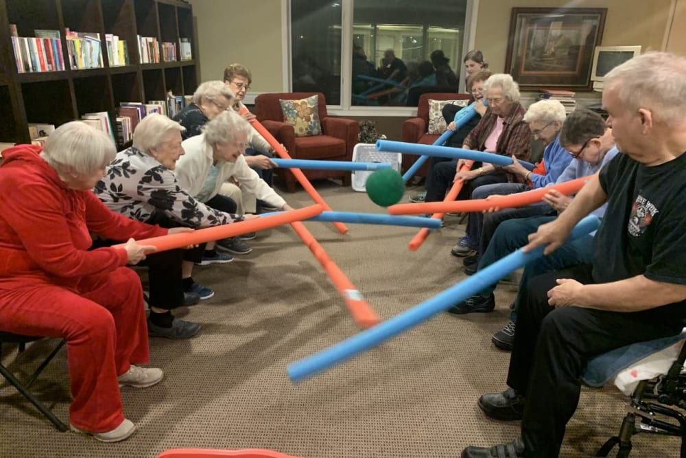 Residents playing a game at The Wellington in Minot, North Dakota