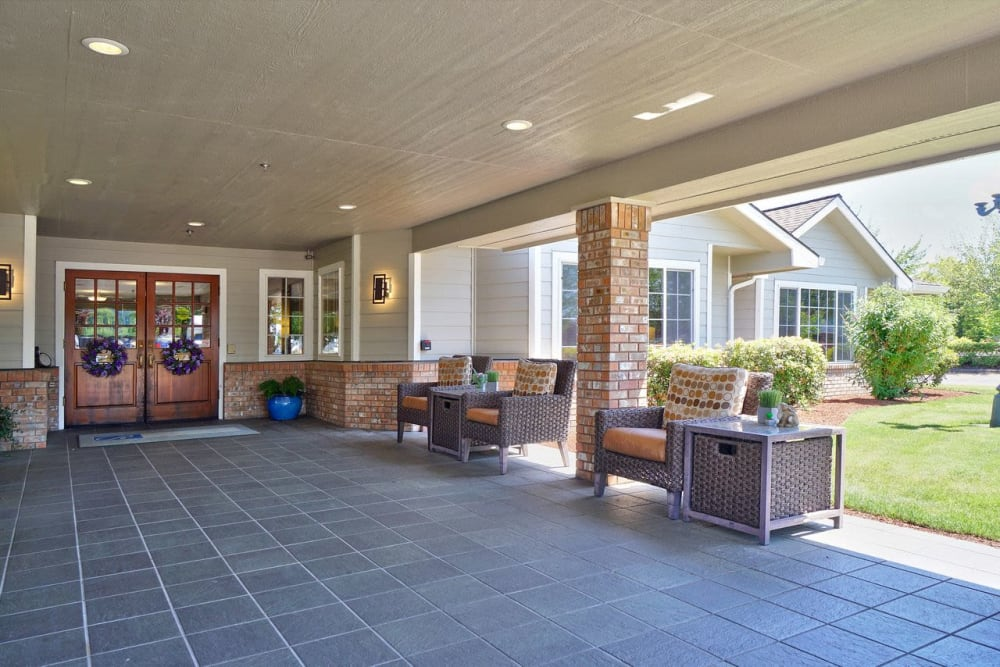 Spacious outdoor patio at Regency Park Place at Corvallis in Corvallis, OR.