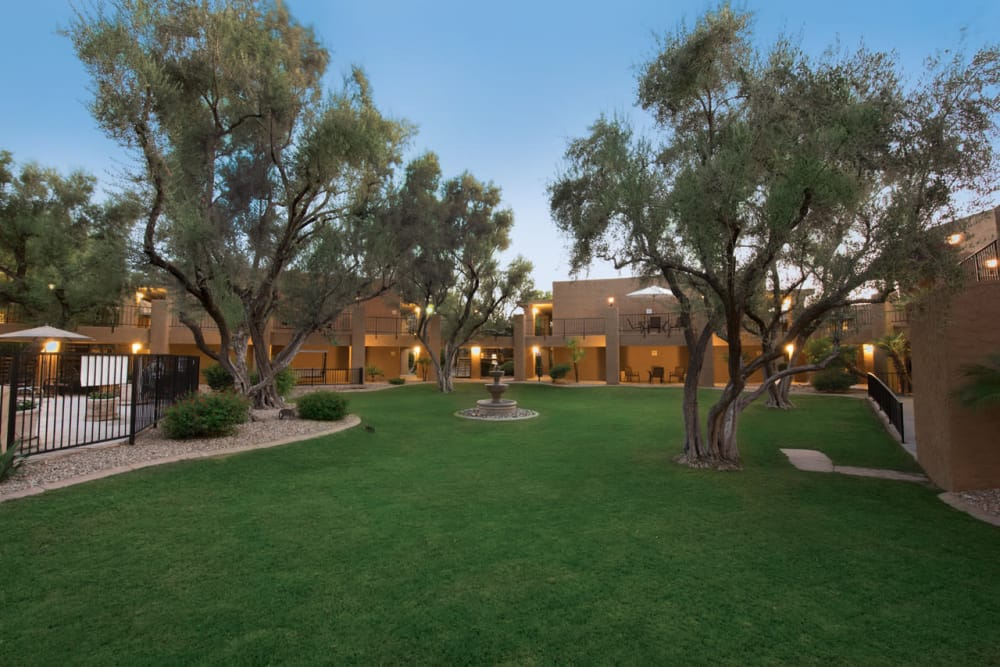 Beautiful landscape outside Scottsdale Village Square, A Pacifica Senior Living Community