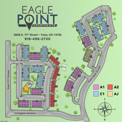 Site map for Eagle Point Apartments in Tulsa, Oklahoma