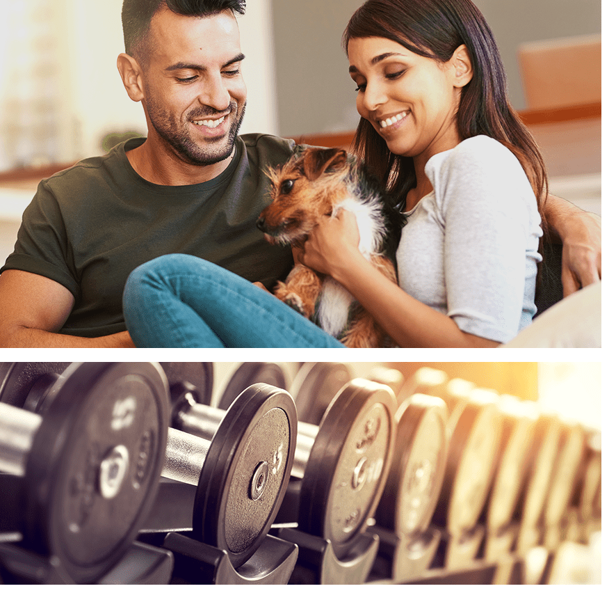 Collage showing a happy couple and their pet as well as the fitness center at Grayson Ridge in North Richland Hills, Texas