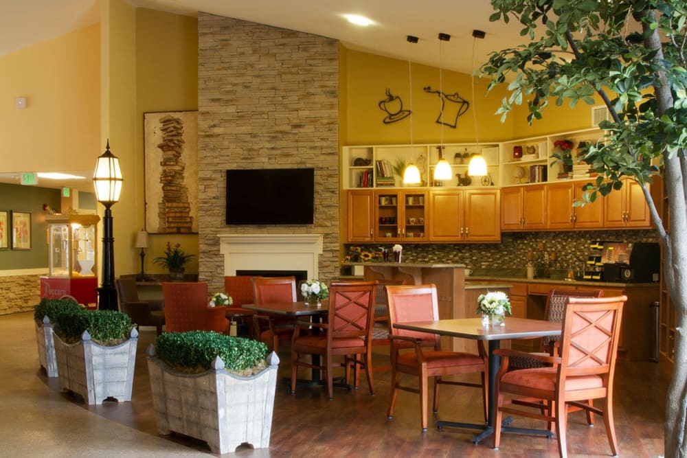 Cafe in the common area at Randall Residence of Tipp City in Tipp City, Ohio