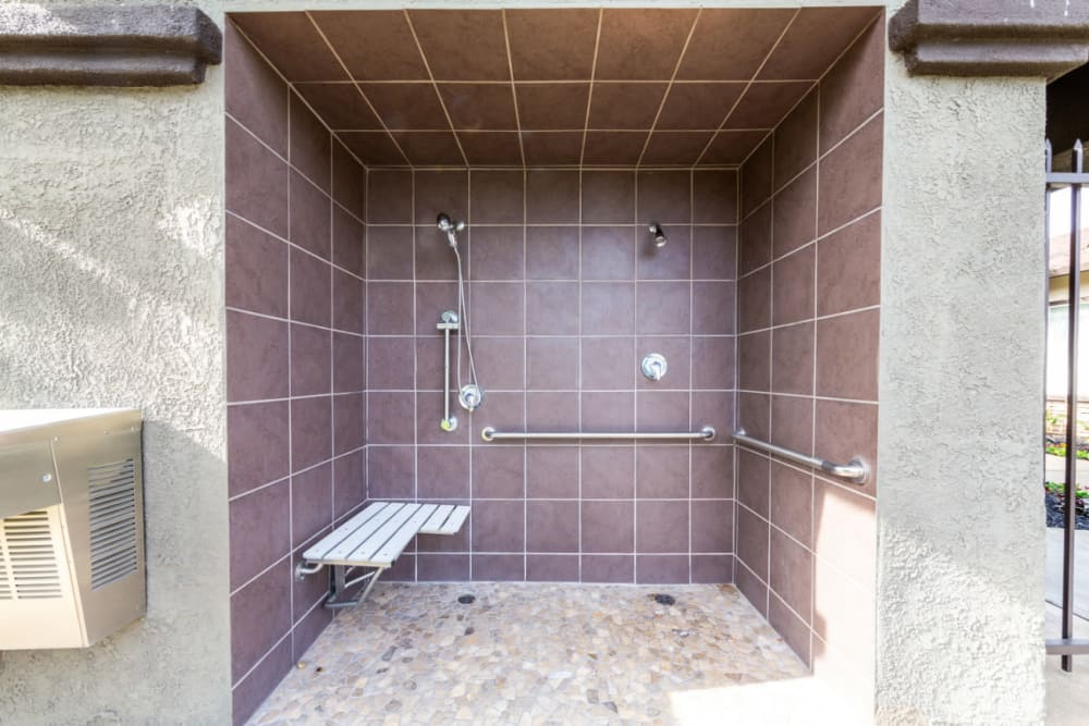 Poolside shower at The Fairmont at Willow Creek in Folsom, California