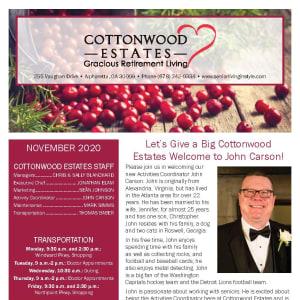 November newsletter at Cottonwood Estates Gracious Retirement Living in Alpharetta, Georgia