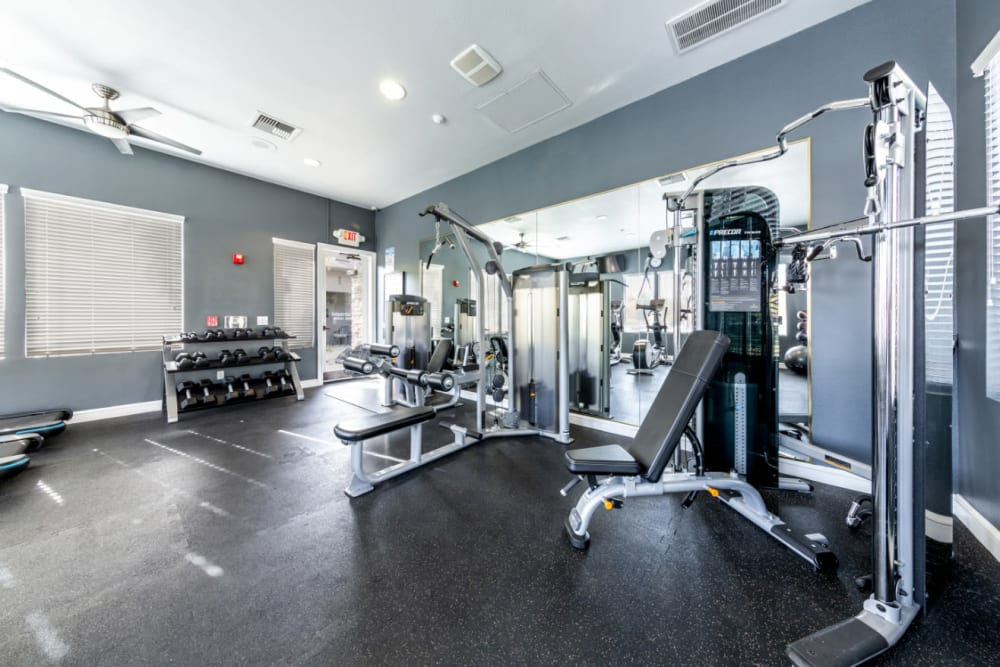 Fully equipped fitness center at The Fairmont at Willow Creek in Folsom, California