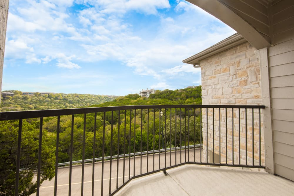 Private balcony with scenic view of treetops at Marquis at Treetops in Austin, Texas