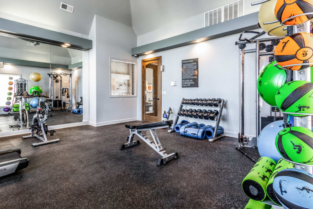 Fitness center with plenty of workout station at The Links at Plum Creek in Castle Rock, Colorado