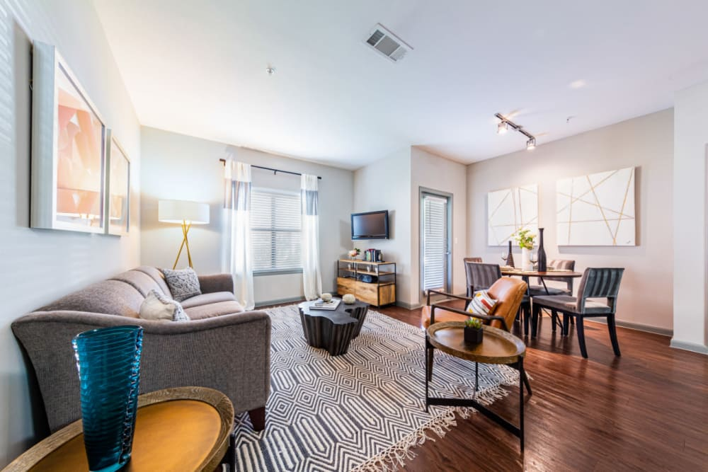 Spacious, well decorated living room at Marquis at Katy in Katy, Texas