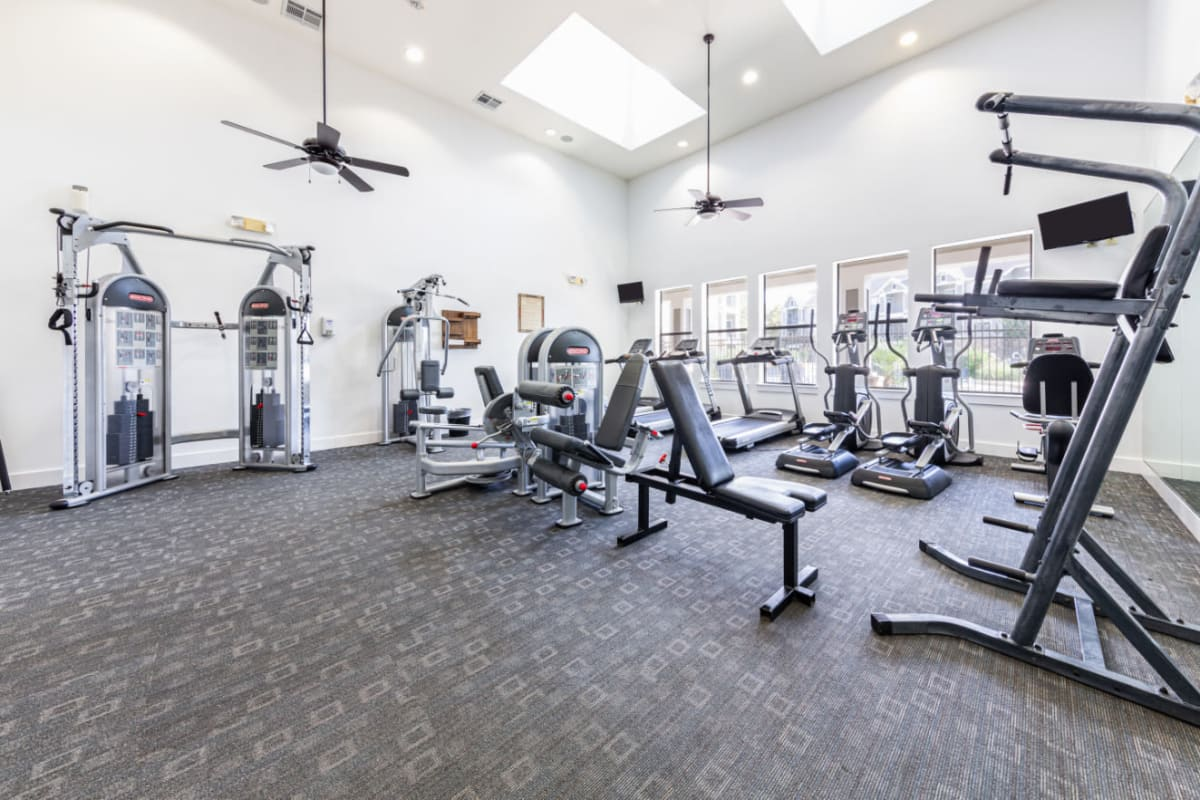 Fully equipped fitness center at Marquis at Katy in Katy, Texas
