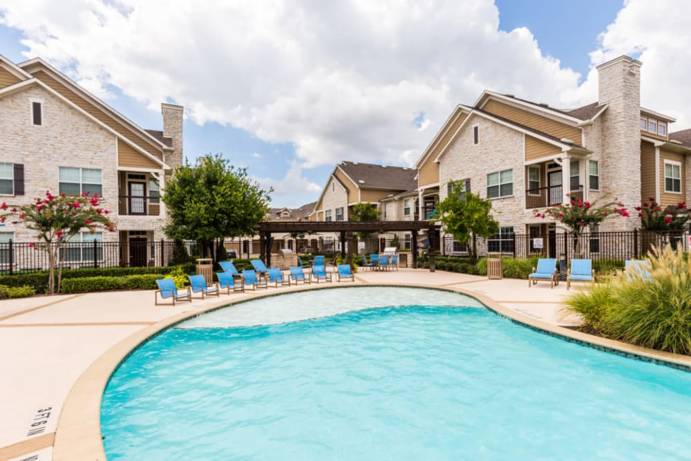 Poolside lounge area Marquis at Cinco Ranch in Katy, Texas