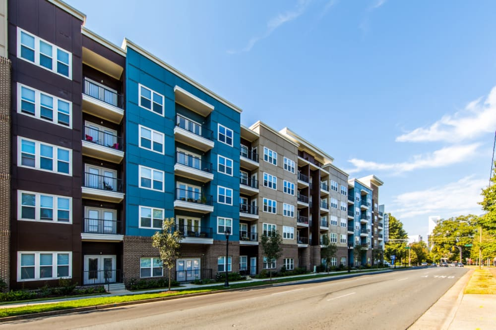 Outside of property from across the street at Marq Midtown 205 in Charlotte, North Carolina