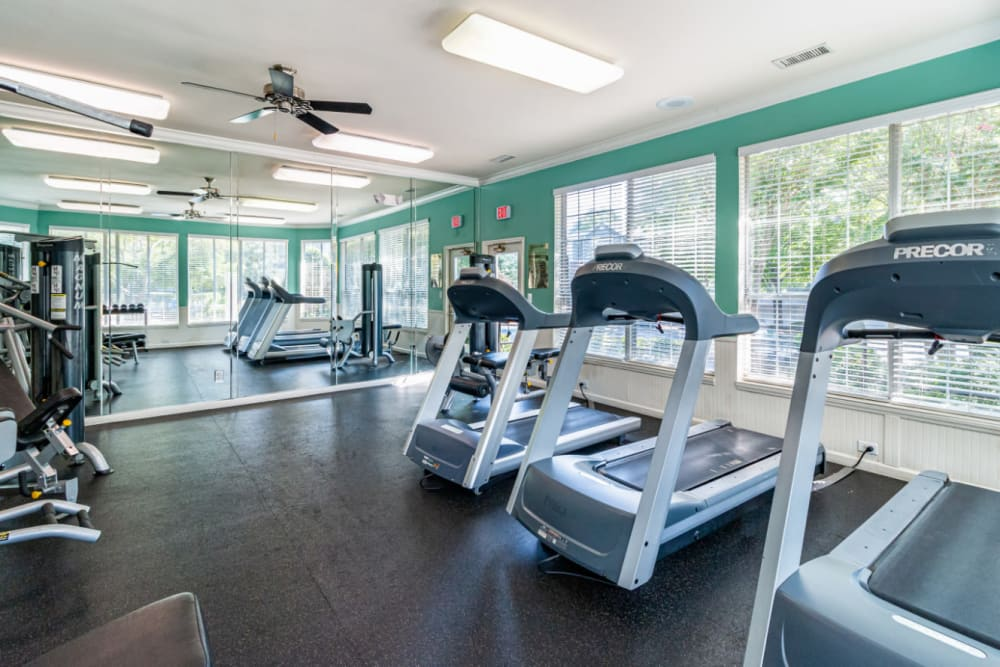 Treadmills facing weight machines in fitness room at Marquis of Carmel Valley in Charlotte, North Carolina