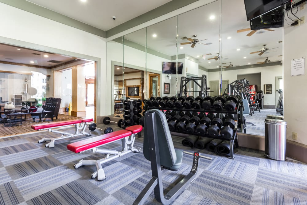 Free weight area in fitness room at Marquis at Clear Lake in Webster, Texas