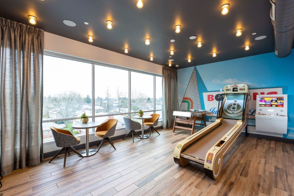 Arcade lounge with skee-ball and more at ArLo Apartments in Portland, Oregon