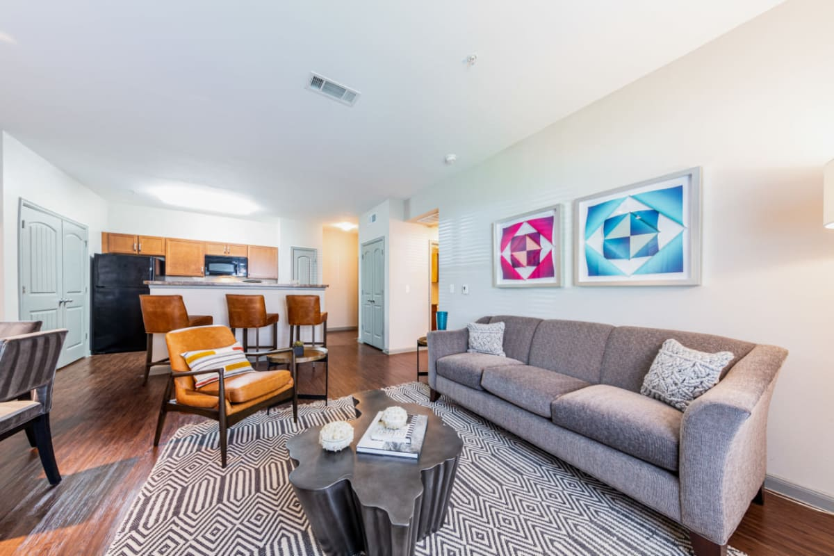 Well decorated living room at Marquis at Katy in Katy, Texas