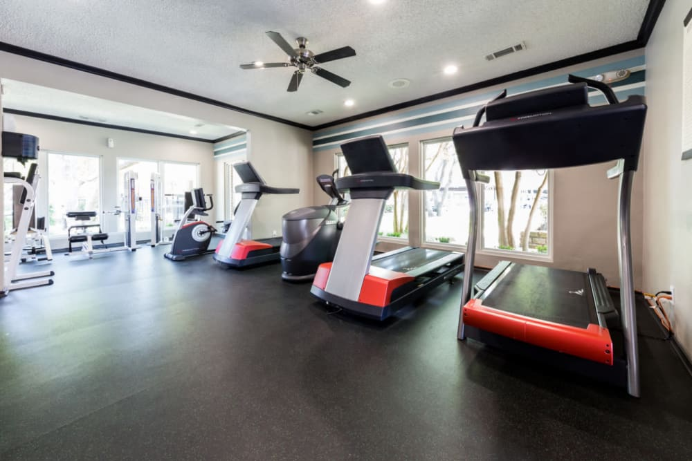 Fully equipped fitness center at Marquis at Legacy in Plano, Texas