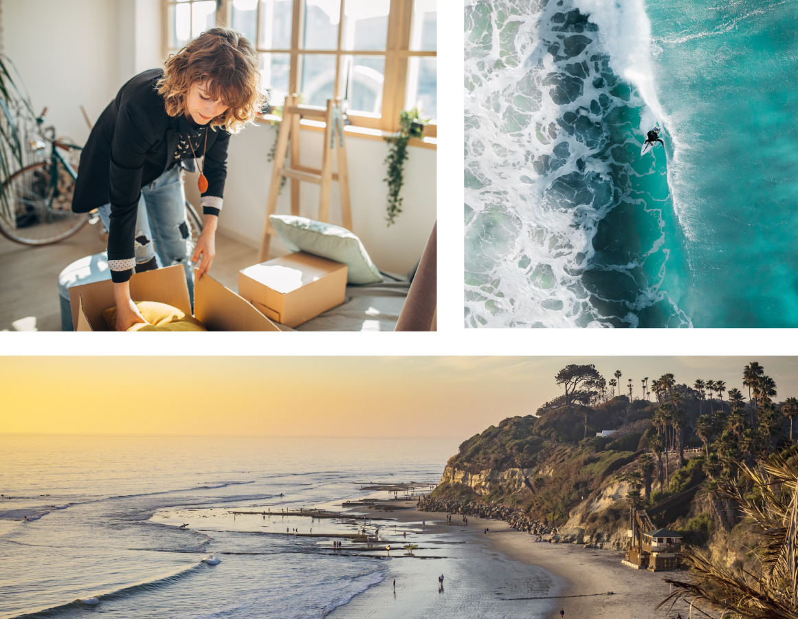 A mosaic including images of the beach and a women packing boxes for storage at a San Diego Self Storage location